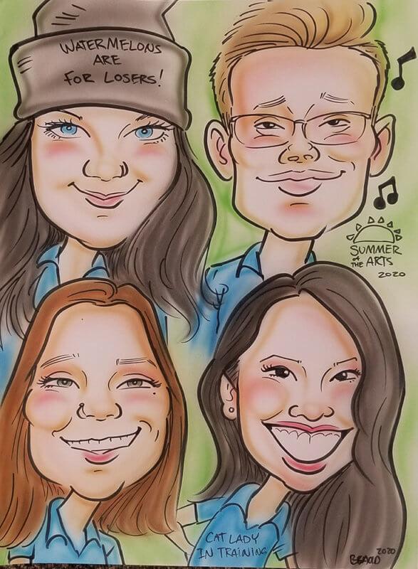 caricature of spring 2020 interns