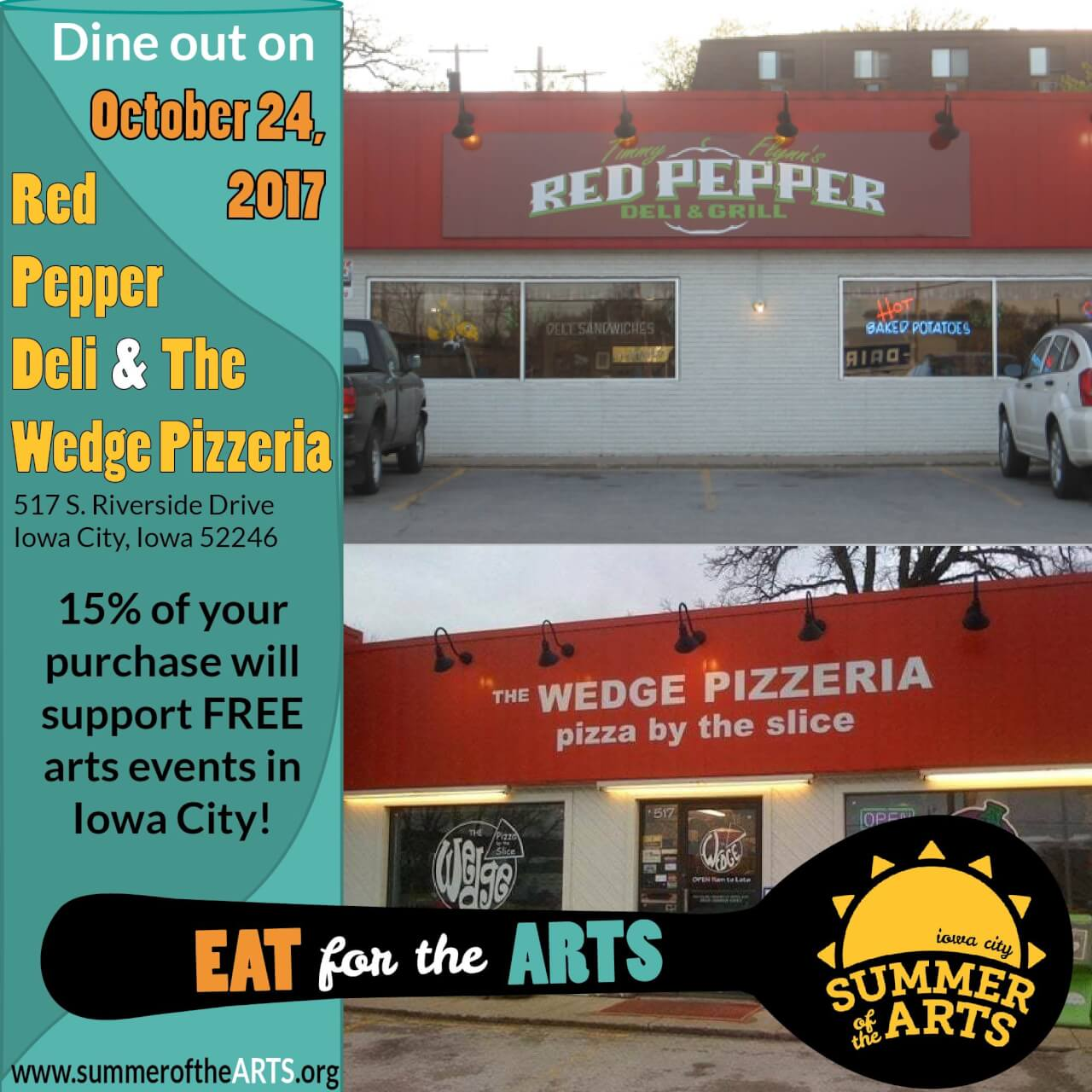 Eat for the Arts Red Pepper Deli and The Wedge Pizzeria